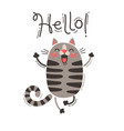 a happy cat greets you hello vector image vector image