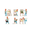artist character painting on canvas set vector image