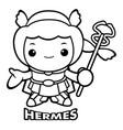 black and white god of strangers hermes character vector image