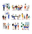 business people working in office set colleagues vector image