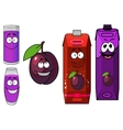 Cartoon plum with drinks containers vector image vector image