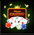 casino sign banner light bulbs vintage neon frame vector image vector image