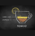 chalk drawn sketch of coffee romano vector image vector image