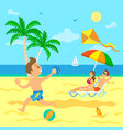 child with wind kite parent relaxing on beach vector image vector image