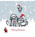 Christmas card with happy cats family vector image