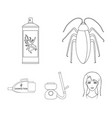 cockroach and equipment for disinfection outline vector image