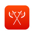 crossed battle axes icon digital red vector image vector image