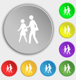 crosswalk icon sign Symbol on five flat buttons vector image