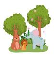 cute animals elephant lion bear grass flowers vector image vector image