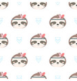 cute sloth pattern isolated on white background vector image