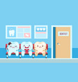 cute teeth in dental clinic dentist waiting vector image