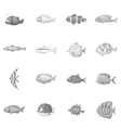 Different fish icons set monochrome style vector image