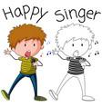 doodle singer boy character vector image