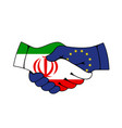 european union and iran partnership handshake vector image