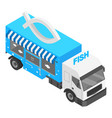 fish shop truck icon isometric style vector image vector image