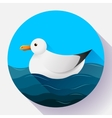 Flat seagull character icon on blue sea background vector image vector image