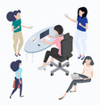 flat young people characters set vector image