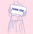 girl is holding a poster that says thank you vector image