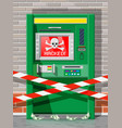 hacked atm concept skimming stealling money vector image vector image