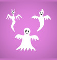 halloween white ghost evil set background vector image