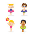 happy children kids playing with toy before vector image vector image