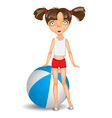 Little girl with ball wearing shorts and t-shirt vector image vector image