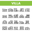 luxurious villa cottage linear icons set vector image vector image
