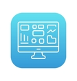 Monitor with business graphs line icon vector image