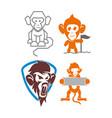monkey shield banner line flag logo design vector image