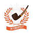 oktoberfest label with a smoking pipe icon vector image