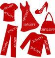 Red clothing with sale percent discount vector image