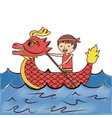 red dragon man rowing festival chinese traditional vector image vector image
