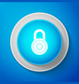 safe combination lock wheel icon isolated on blue vector image