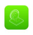 satellite dish icon green vector image vector image