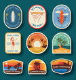 Set nine beach badges hand drawn palm trees