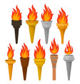 set of different torches with brightly burning vector image