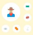 set of usa icons flat style symbols with hot dog vector image