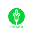 simple green round healthy food logo vector image vector image
