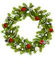 snowy christmas fir wreath vector image vector image