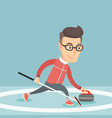 sportsman playing curling on on a skating rink vector image vector image