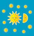 Sun Moon Stars on blue night sky Modern style flat vector image