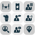 teamwork icons set with team schedule geolocation vector image