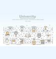 thin line art university poster banner vector image
