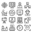 video conference and online meeting icons set vector image vector image
