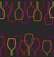 wine glass silhouette on dark art background vector image vector image