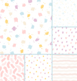 Hand drawn brushes seamless patterns collection vector image