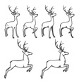 Christmas reindeer in different poses vector image