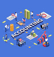 accounting isometric flowchart vector image