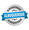 Albuquerque round silver badge with blue ribbon vector image vector image