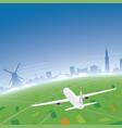 amsterdam skyline flight destination vector image vector image